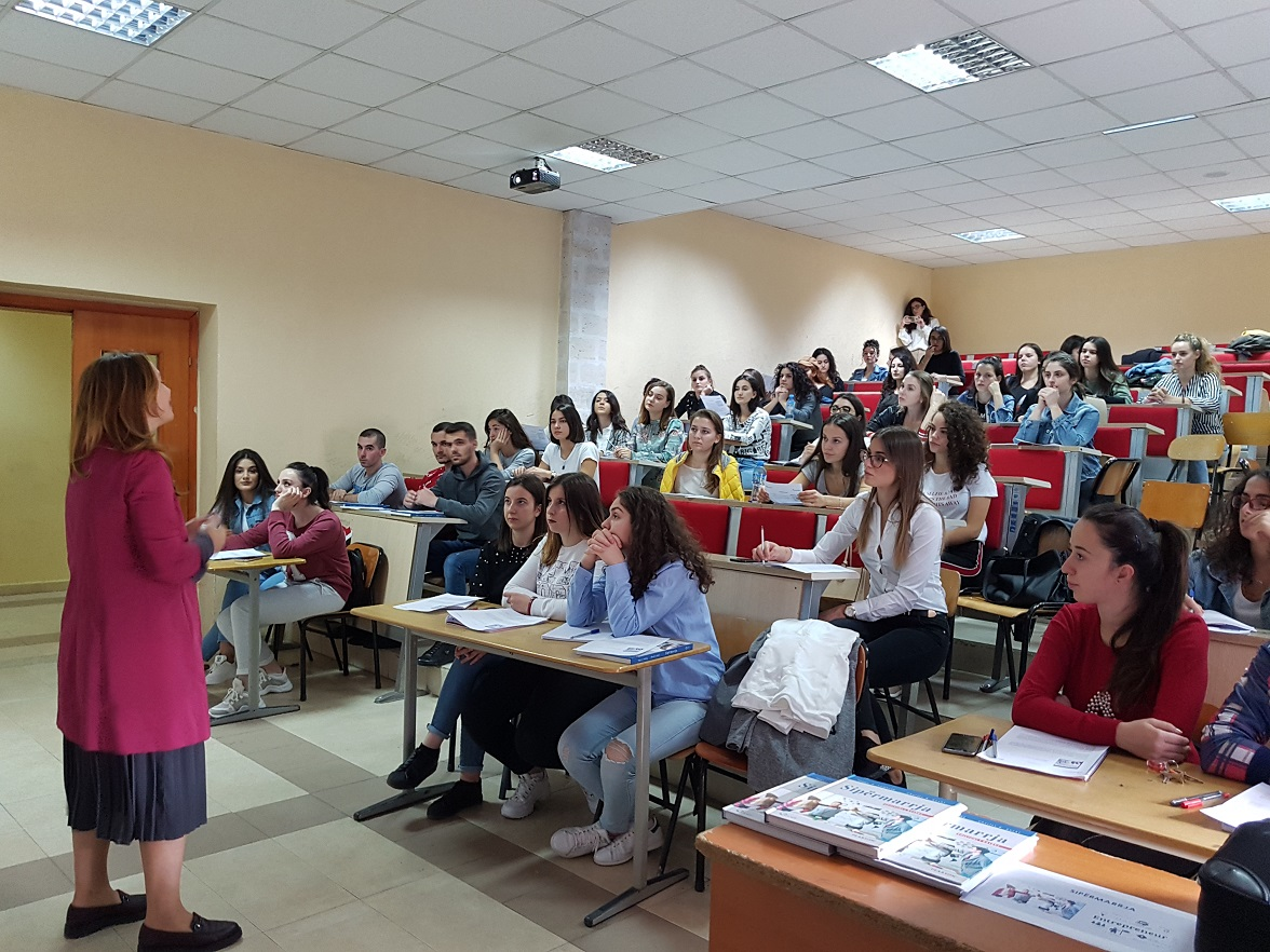 "The ""Entrepreneurship"" textbook in the lecture halls of the University of Tirana"